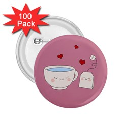 Cute Tea 2 25  Buttons (100 Pack)