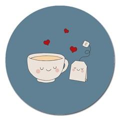 Cute Tea Magnet 5  (round)