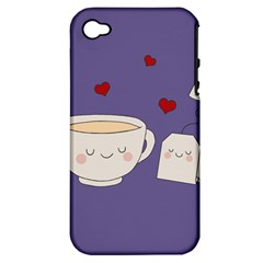 Cute Tea Apple Iphone 4/4s Hardshell Case (pc+silicone)
