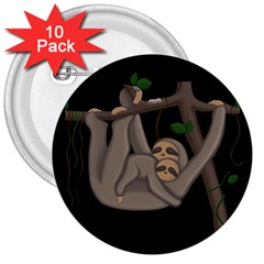 Cute Sloth 3  Buttons (10 Pack)