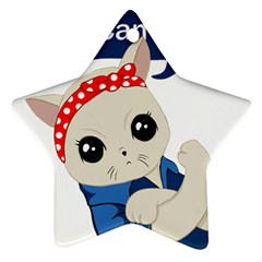 Feminist Cat Ornament (star)