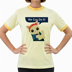 Feminist Cat Women s Fitted Ringer T Shirts