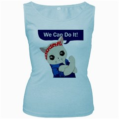 Feminist Cat Women s Baby Blue Tank Top