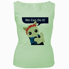 Feminist Cat Women s Green Tank Top