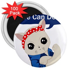 Feminist Cat 3  Magnets (100 Pack)