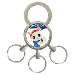 Feminist Cat 3 Ring Key Chains