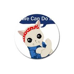 Feminist Cat Magnet 3  (round)