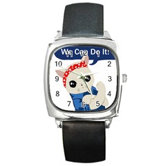 Feminist Cat Square Metal Watch