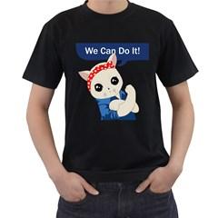 Feminist Cat Men s T Shirt (black) (two Sided)