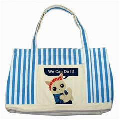 Feminist Cat Striped Blue Tote Bag