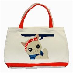 Feminist Cat Classic Tote Bag (red)