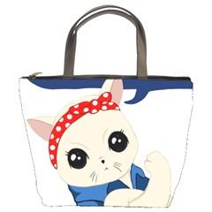 Feminist Cat Bucket Bags