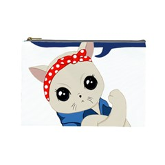 Feminist Cat Cosmetic Bag (large)