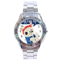 Feminist Cat Stainless Steel Analogue Watch