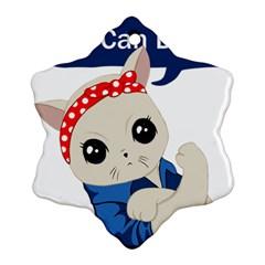Feminist Cat Ornament (snowflake)