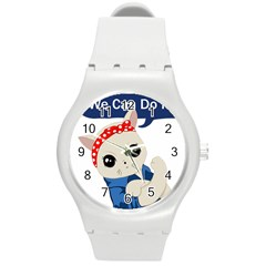 Feminist Cat Round Plastic Sport Watch (m)