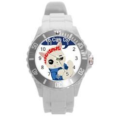 Feminist Cat Round Plastic Sport Watch (l)