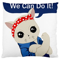 Feminist Cat Large Cushion Case (one Side)
