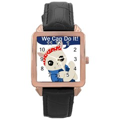 Feminist Cat Rose Gold Leather Watch