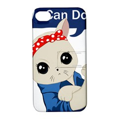 Feminist Cat Apple Iphone 4/4s Hardshell Case With Stand