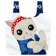 Feminist Cat Full Print Recycle Bags (l)