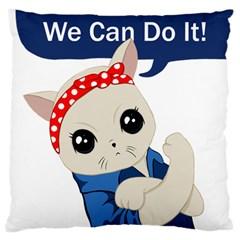 Feminist Cat Large Flano Cushion Case (one Side)