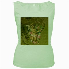 Cupid   Vintage Women s Green Tank Top