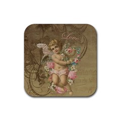 Cupid   Vintage Rubber Square Coaster (4 Pack)