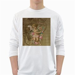 Cupid   Vintage White Long Sleeve T Shirts