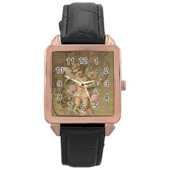 Cupid   Vintage Rose Gold Leather Watch