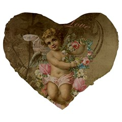 Cupid   Vintage Large 19  Premium Flano Heart Shape Cushions