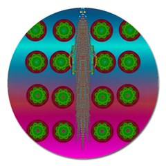 Meditative Abstract Temple Of Love And Meditation Magnet 5  (round)