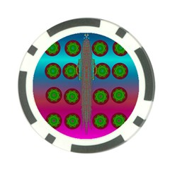 Meditative Abstract Temple Of Love And Meditation Poker Chip Card Guard (10 Pack)