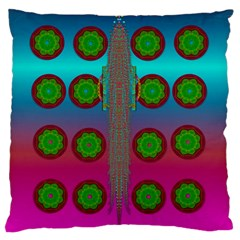 Meditative Abstract Temple Of Love And Meditation Large Flano Cushion Case (one Side)