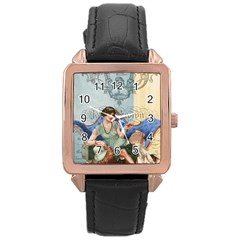 Vintage 1254696 1920 Rose Gold Leather Watch