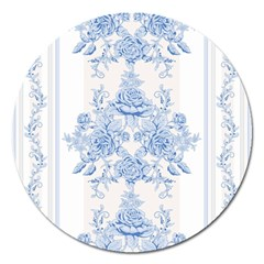 Beautiful,pale Blue,floral,shabby Chic,pattern Magnet 5  (round)