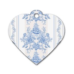 Beautiful,pale Blue,floral,shabby Chic,pattern Dog Tag Heart (one Side)