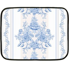 Beautiful,pale Blue,floral,shabby Chic,pattern Double Sided Fleece Blanket (mini)