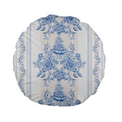 Beautiful,pale Blue,floral,shabby Chic,pattern Standard 15  Premium Flano Round Cushions