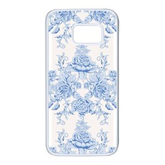 Beautiful,pale Blue,floral,shabby Chic,pattern Samsung Galaxy S7 White Seamless Case