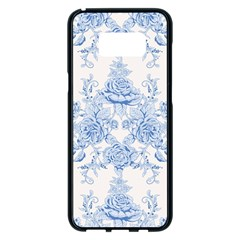 Beautiful,pale Blue,floral,shabby Chic,pattern Samsung Galaxy S8 Plus Black Seamless Case