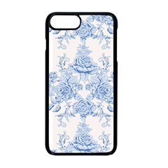 Beautiful,pale Blue,floral,shabby Chic,pattern Apple Iphone 8 Plus Seamless Case (black)