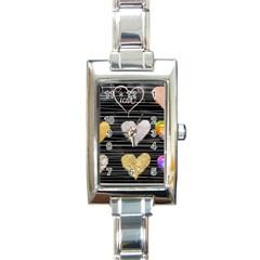 Modern Heart Pattern Rectangle Italian Charm Watch