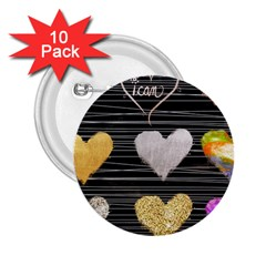 Modern Heart Pattern 2 25  Buttons (10 Pack)