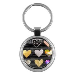 Modern Heart Pattern Key Chains (round)