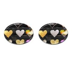 Modern Heart Pattern Cufflinks (oval)