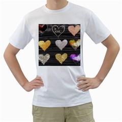 Modern Heart Pattern Men s T Shirt (white)