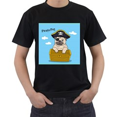 Pirate Pug  Men s T Shirt (black) (two Sided)