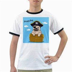 Pirate Pug Ringer T Shirts