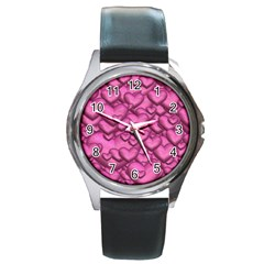 Shimmering Hearts Pink Round Metal Watch